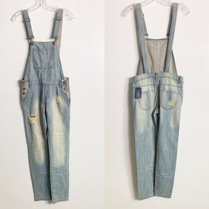 🍒NWT Forever 21 Denim Distressed Overalls 24